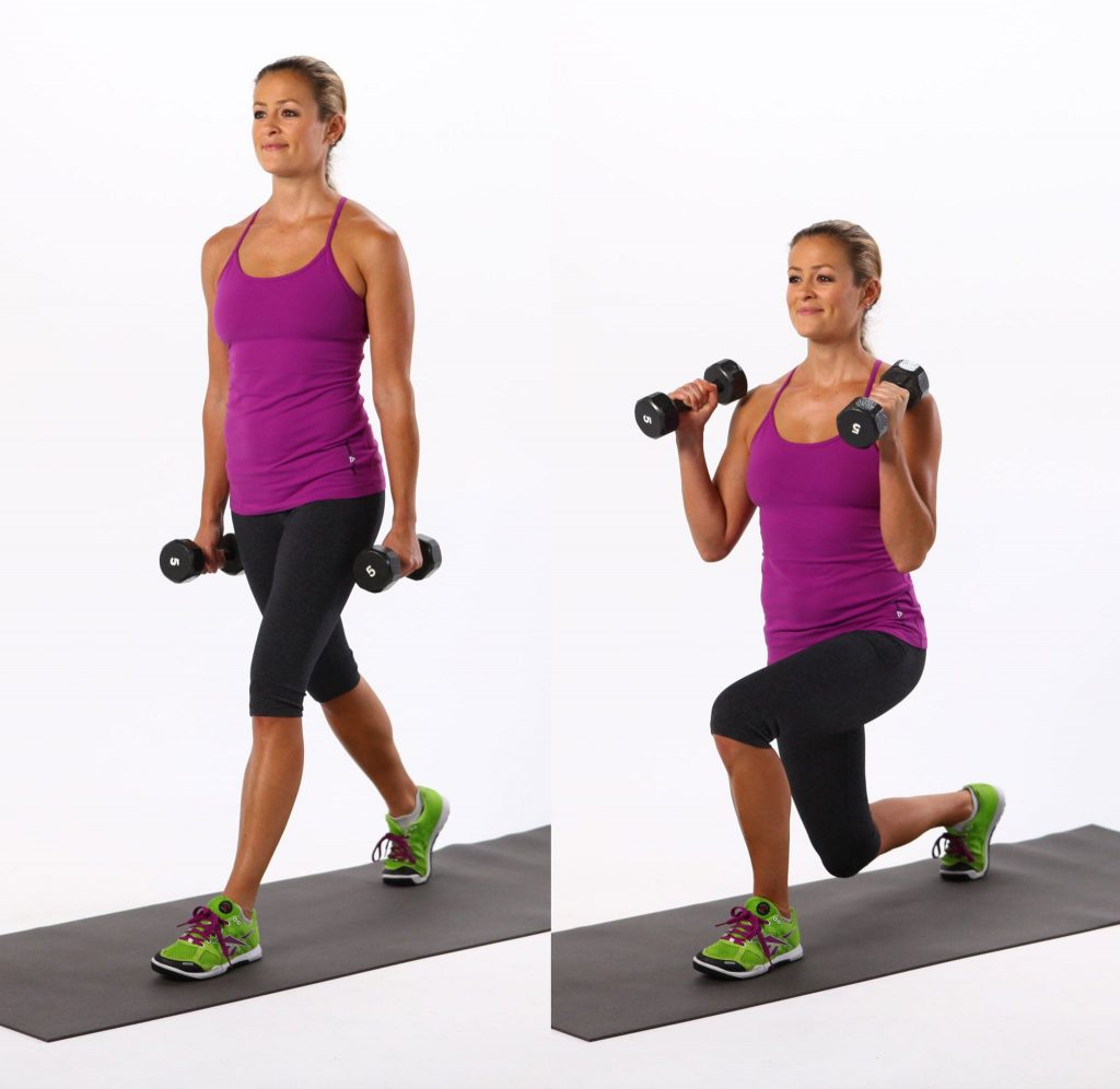 Bow Lunge with Biceps Curl